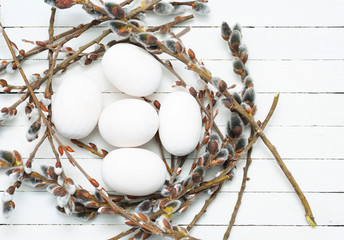 White painted wood eggs, Easter decoration