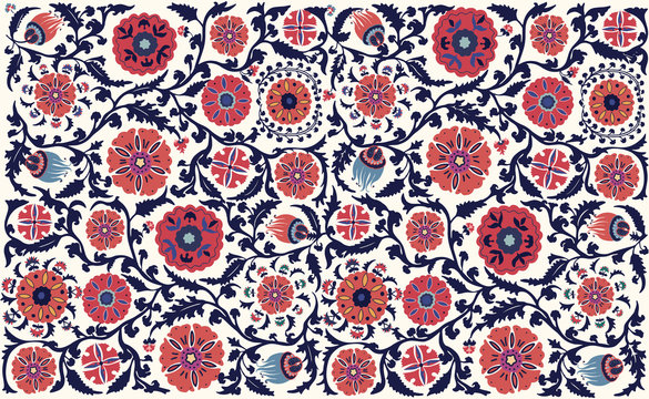 Vector floral seamless pattern. Uzbek suzani national ornament for textile embroidery. Arabic, Indian, Turkish style flowers background. Bohemian ornament for taps.