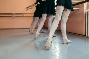 The group of beautiful teenage girls practicing ballet dance.