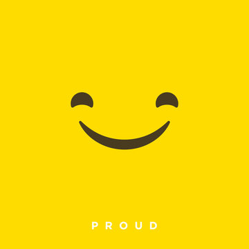 High quality vector cartoon with proud emoticons with Flat Design Style, social media reactions - Vector EPS10
