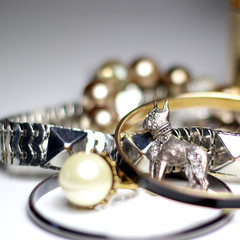 Mix of jewellery over white background