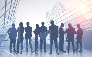 Business team and skyscrapers