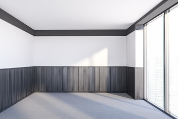 Empty small white and wooden room