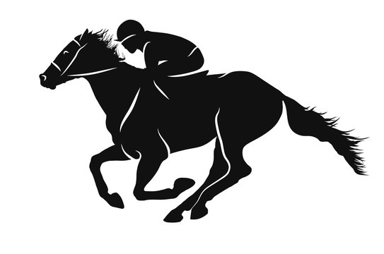 Vector silhouette of a jockey racing on a horse.