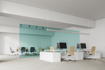 White office and meeting room corner