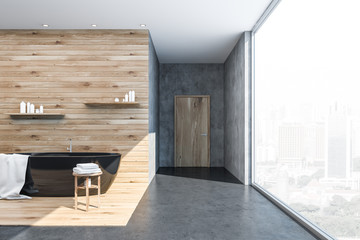 Panoramic concrete and wood bathroom