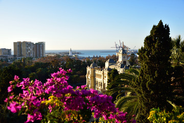 Panorama of the city and the port of Malaga in Spain.