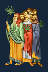 People with palm leaves meet Jesus. Dominica in Palmis de Passione Domini. Palm Sunday. Illustration - fresco in Byzantine style.