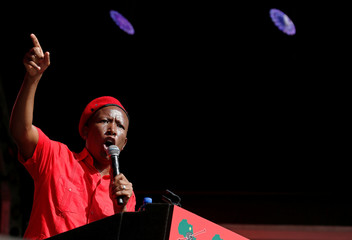 President of South Africa's radical left-wing party, EFF, Julius Malema, speaks during the launch of the party's election manifesto in Soshanguve