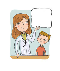 Childrens doctor shows to the boy on the poster with information