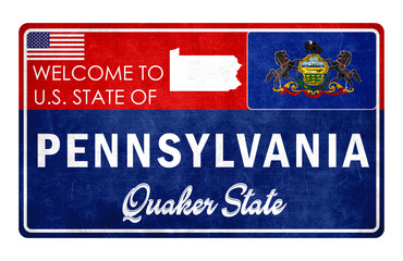 Welcome to Pennsylvania - grunge sign