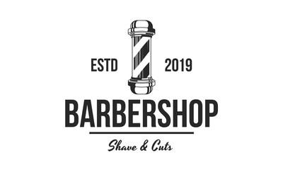 Barbershop retro logo with pole. Vector haircut's salon sign,label. Retro print design.