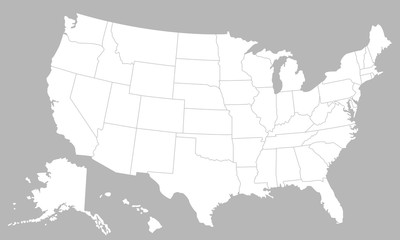United States of America blank map with states isolated on a white background. USA map background. Vector illustration Fototapete