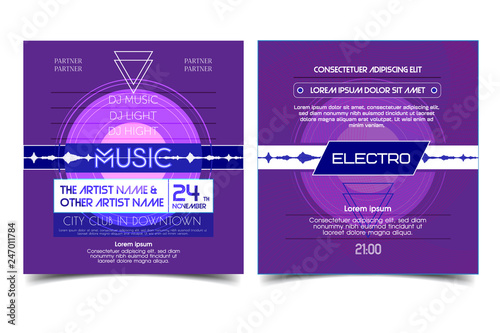 Electro party advertising music flyer or banner  Music clab