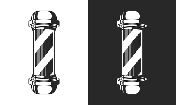 Vintage glass Barbershop pole isolated on white and black background. Barber Shop pole sign, icon. Vector element for design logo, label, badge.