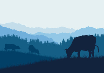 Realistic illustration with three silhouettes of cows on pasture, grass and forest, under blue sky, vector Wall mural