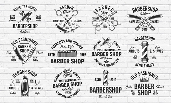Set of 12 vintage barbershop logos, emblems, labels, badges. Isolated on white background. Vector Retro prints for Haircut's salon, T-shirt, typography.