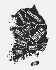 Wall Mural - South Korea map with regions names. South Korea poster map. Vector illustration