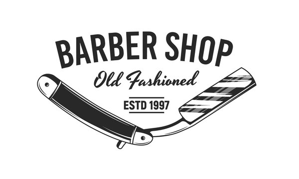 Barber shop razor blade logo. Vintage design logo. Vector illustration