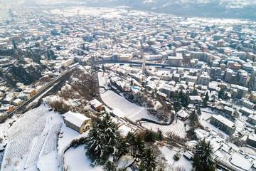 Valtellina (IT) - Sondrio - Frazione Sant'Anna - Chiesetta di S. Bartolomeo - Vista aerea