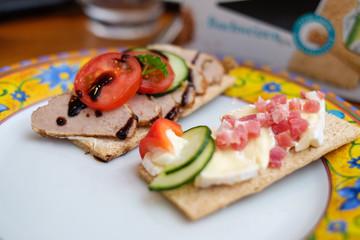 decorational food with crispbread
