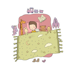 Sleeping boy. Baby in bed with toys. Time to sleep. Good night.