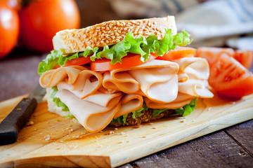 Türaufkleber Fastfood Smoked Chicken Sandwich