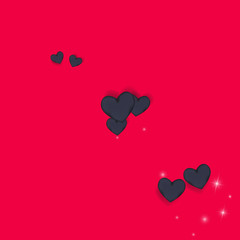 Volumetric black hearts on a pink background with twinkling elements. Glamorous background with hearts for Valentine's day. Confetti.