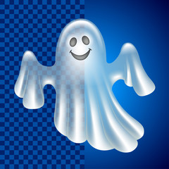 Cartoon cute ghost isolated on dark vector