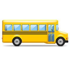 Yellow school bus profile isolated on white vector illustration