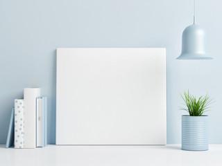 Mock up poster on blue background wall, minimalism composition, 3d render, 3d illustration