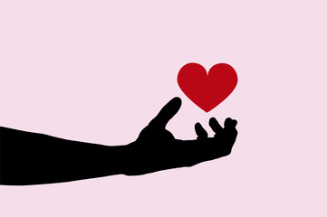 Vector illustration of realistic hand holding red heart shape on pink background. Black silhouette of arm. Valentines day greeting card. Concept of love and fun playing with emotions. Body parts