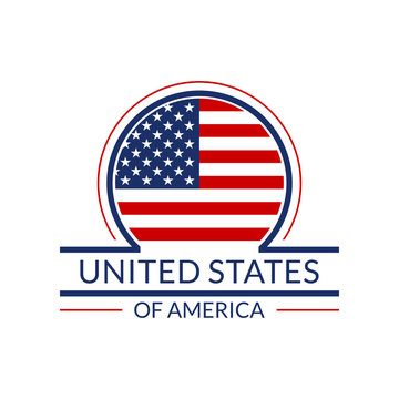 US flag icon. The United States of America circle logo or badge. American round banner. Vector illustration.