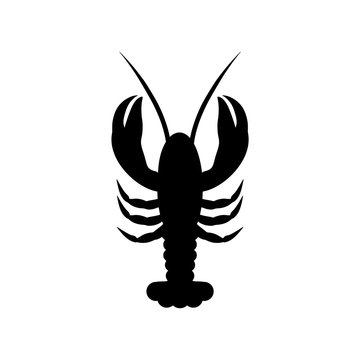 Lobster icon or logo, silhouette lobster