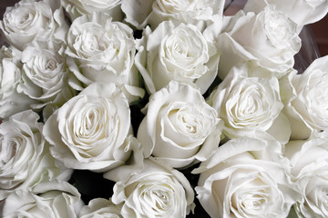 Black and white roses flower bouquet