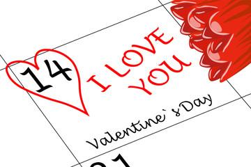 Valentin`s Tag Ich Liebe Dich mit Herz und Blumen