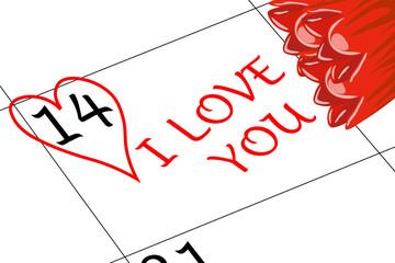 Valentin`s Tag Ich Liebe Dich mit Blumen