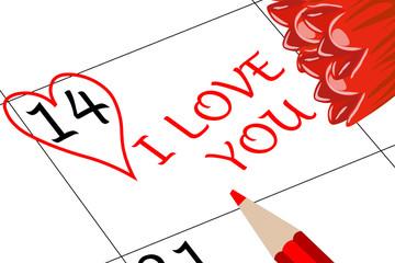 Valentin`s Tag Ich Liebe dich mit Blumen und Stift