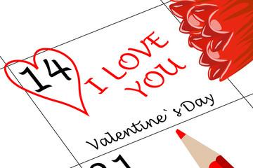 Valentin`s Tag Ich Liebe Dich mit Herz Blumen und Stift