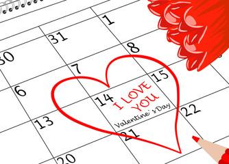 Valentin`s Tag Ich Liebe Dich Kalenderblatt mit Herz Blumen und Schriftzug