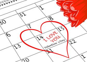 Valentin`s Tag Ich Liebe Dich Kalenderblatt mit Herz und Blumen