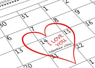 Valentin`s Tag Ich Liebe Dich Kalenderblatt mit Herz und Schriftzug