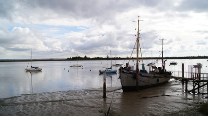 Old Wooden Yachts on Mud Flats in Essex