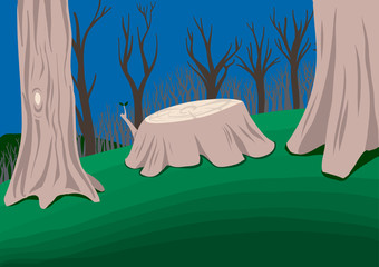 Landscape of a forest with a cut trunk in the middle. Vector illustration