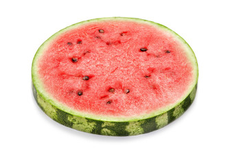 Wall Mural - round slice of watermelon isolated on white background