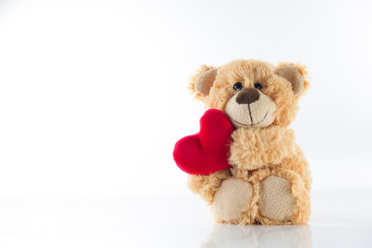 Valentine's day, Cute Stuffed bear holding heart, on white background, Love Card