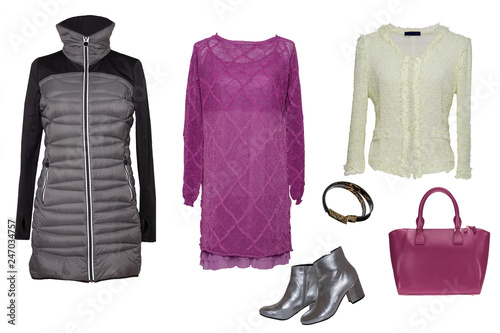 Collage woman clothes  Set of stylish and trendy women