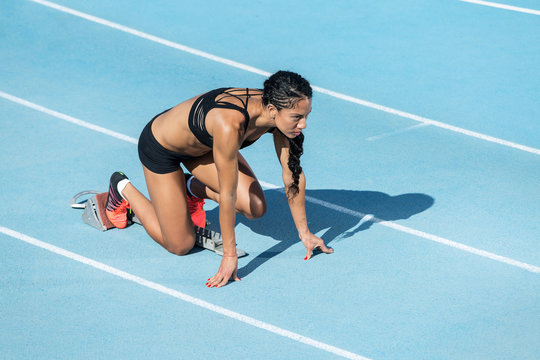 athlete woman in starting position