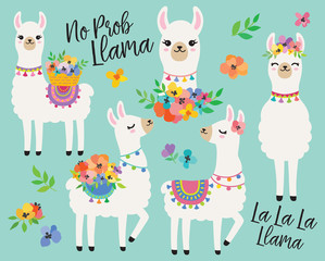 Fototapete - Cute llamas or alpacas with colorful spring flowers hand drawn vector illustration.