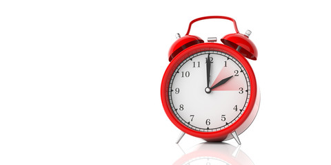 European daylight saving time end. Red alarm clock isolated on white background, copy space. 3d illustration